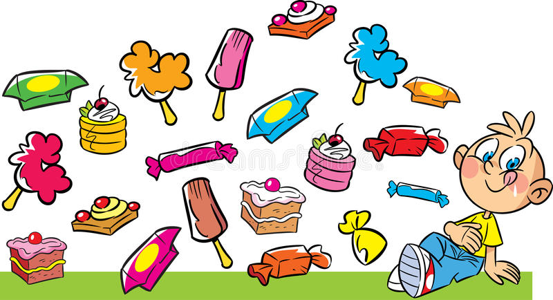 Garçon et bonbons illustration stock