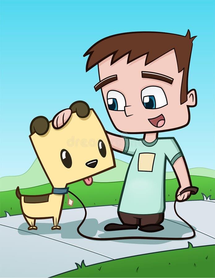 Garçon et chiot illustration de vecteur