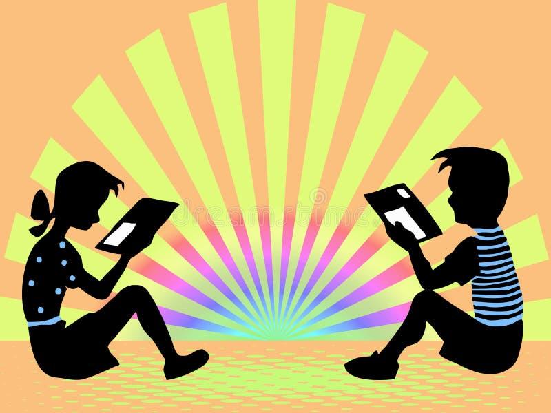 Garçon et fille affichés illustration libre de droits