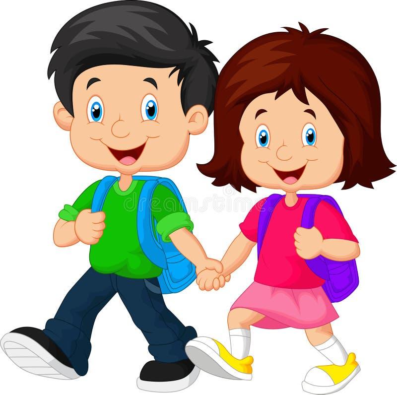 Garçon et fille avec des sacs à dos illustration libre de droits