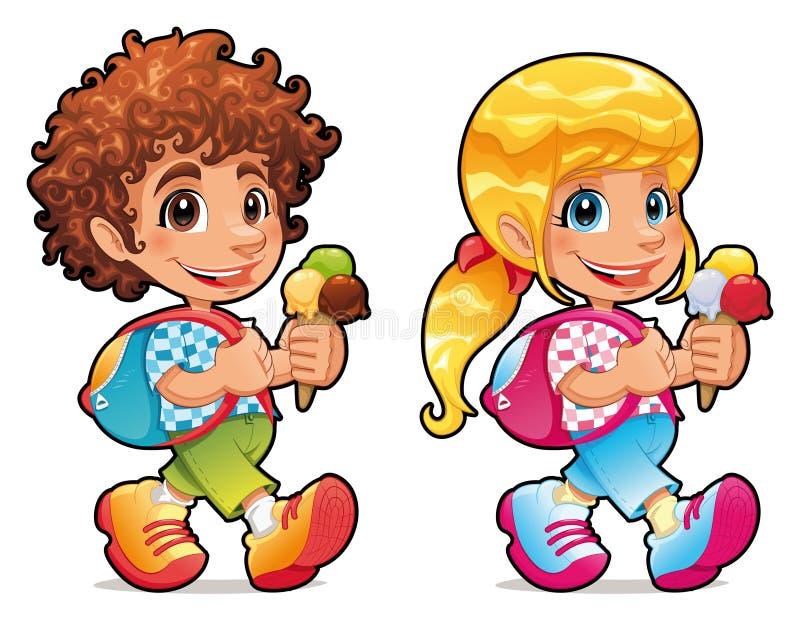 Garçon et fille avec la crême glacée illustration de vecteur