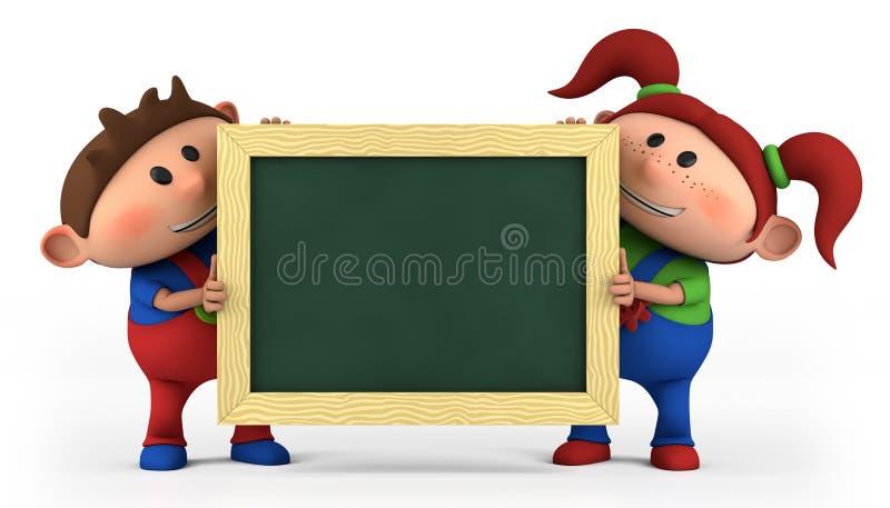 Garçon et fille avec le tableau noir illustration stock