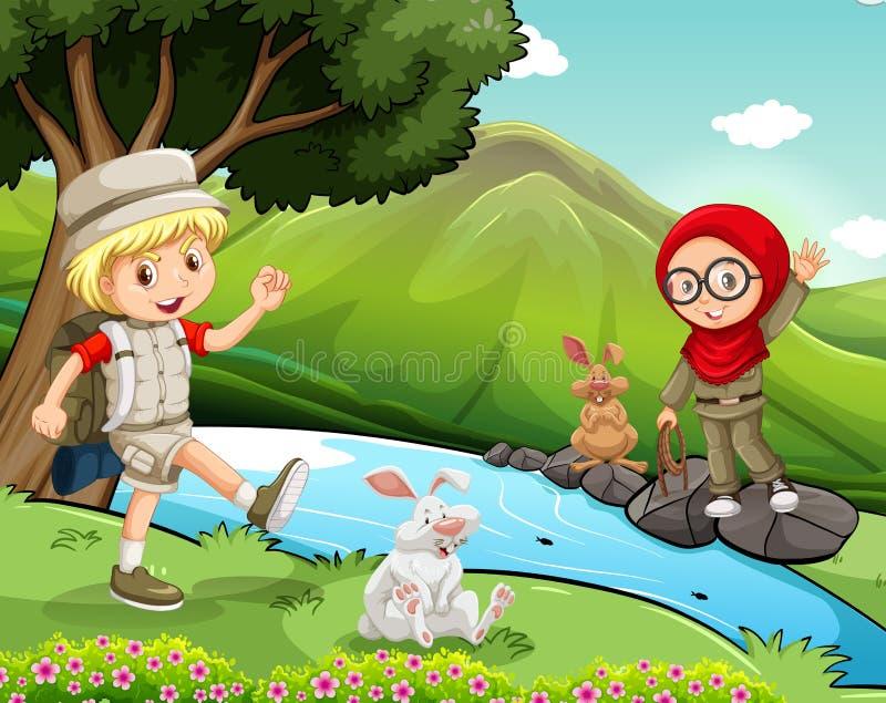 Garçon et fille campant par la rivière illustration de vecteur