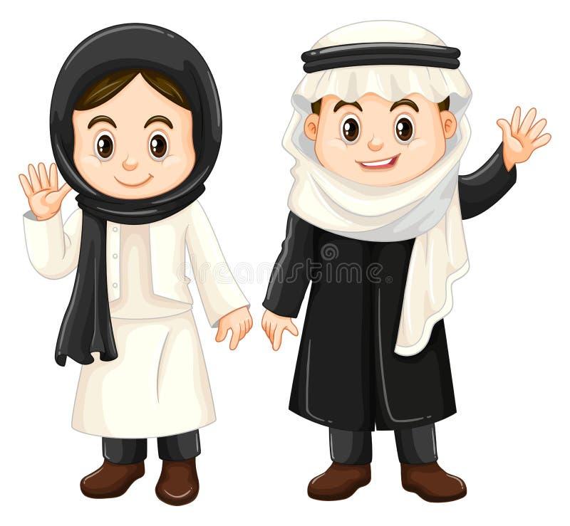 Garçon et fille dans des costumes du Kowéit illustration libre de droits