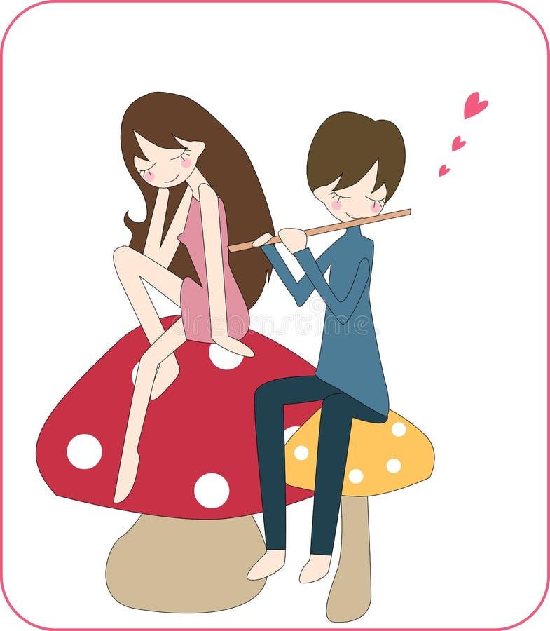 Garçon et fille dans l'amour illustration stock