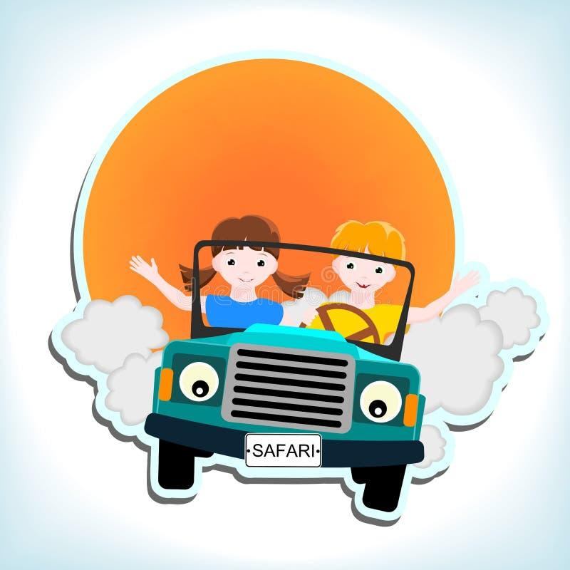 Garçon et fille dans le véhicule illustration de vecteur
