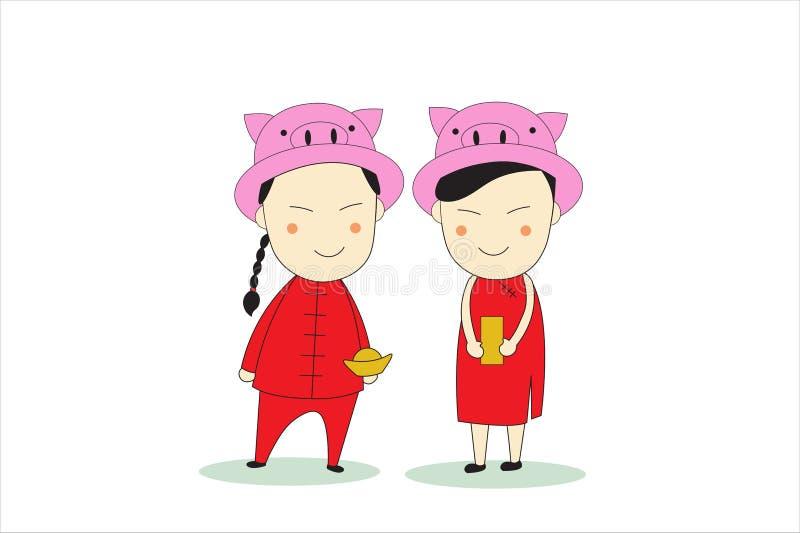 Garçon et fille de bande dessinée portant la robe chinoise rouge de nouvelle année Illustration plate de vacances de vecteur de s illustration stock