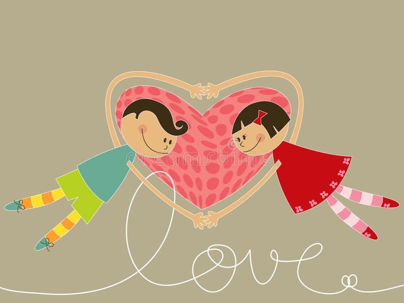 Garçon et fille de dessin animé dans l'amour illustration stock