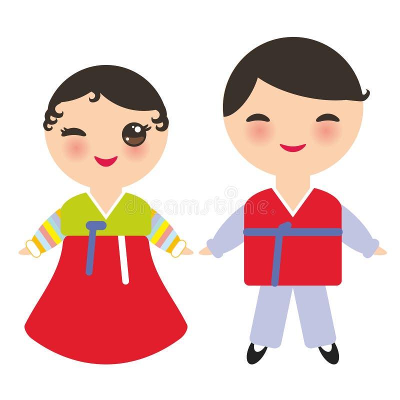 Garçon et fille de Kawaii de Coréens dans le costume national Hanbok Joseon-ot Enfants de bande dessinée dans la robe traditionne illustration de vecteur