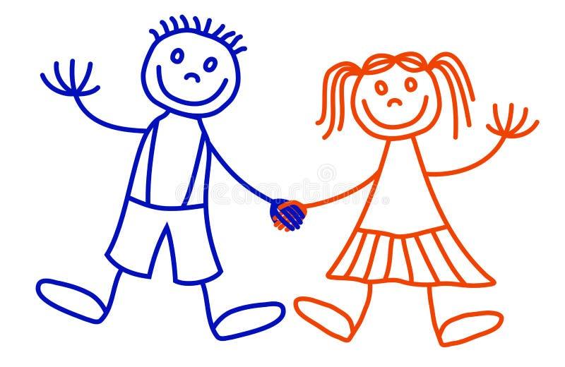 Garçon et fille de Lineart illustration libre de droits