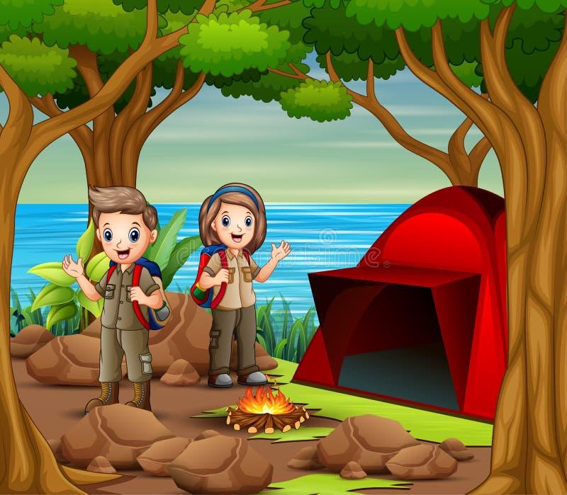 Garçon et fille de scout dans l'équipement d'explorateur campant en nature illustration de vecteur