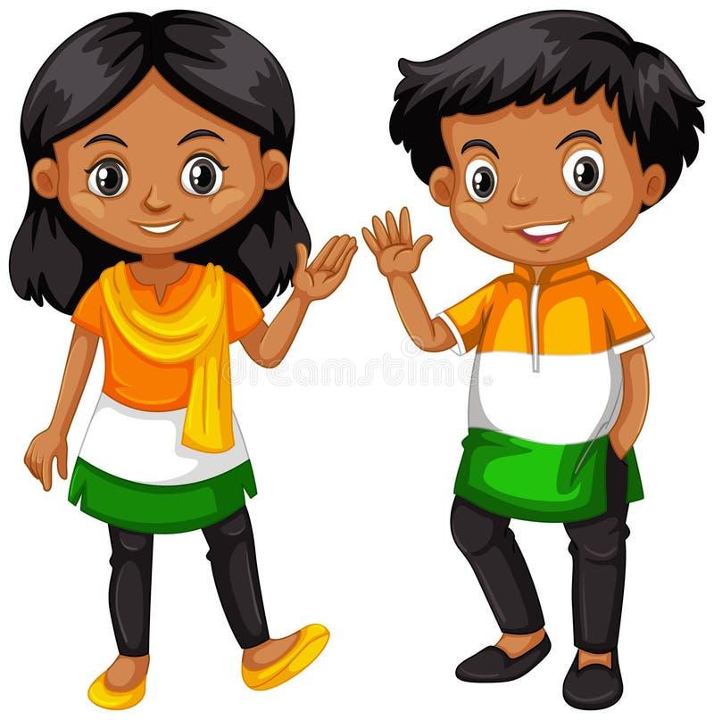 Garçon et fille des mains de ondulation d'Inde illustration libre de droits