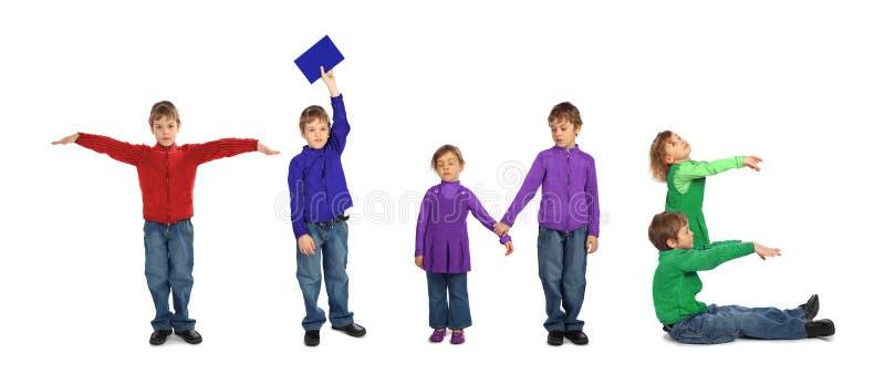 Garçon et fille effectuant le mot TEMPS, collage photos libres de droits