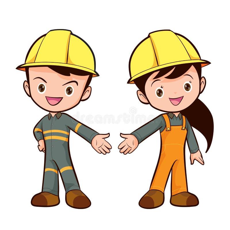 Garçon et fille futés mignons de travailleur de vecteur illustration de vecteur