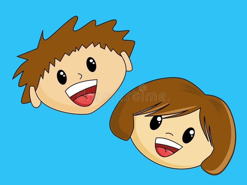 Garçon et fille heureux illustration de vecteur