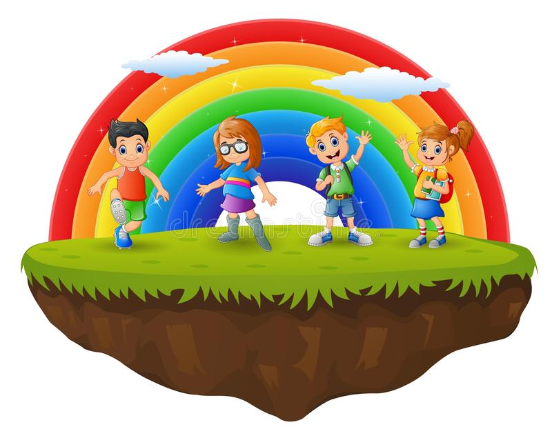 Garçon et fille heureux dans la colline sur le fond d'arc-en-ciel illustration stock