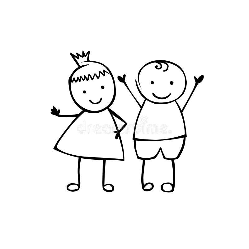 Garçon et fille linéaires Couples de vecteur illustration de vecteur