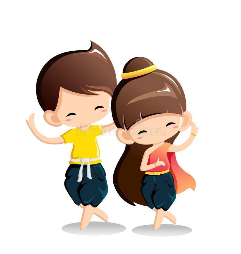 Garçon et fille mignons dans le costume national - danse thaïlandaise illustration de vecteur