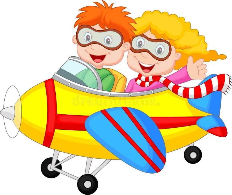 Garçon et fille mignons de bande dessinée sur un avion illustration libre de droits