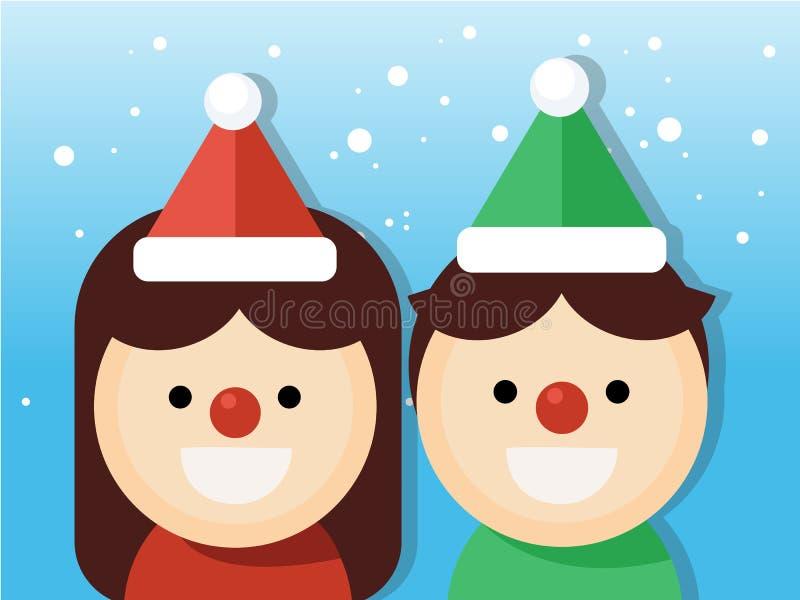 Garçon et fille mignons de Noël Partie de costumes de Noël sur le fond de chutes de neige illustration stock