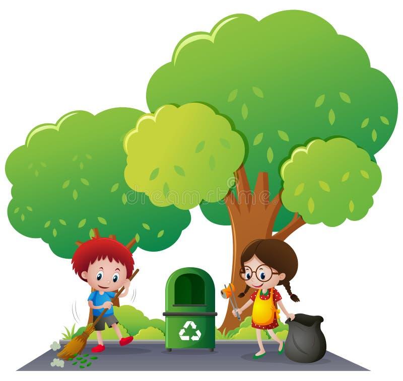Garçon et fille nettoyant la route illustration stock