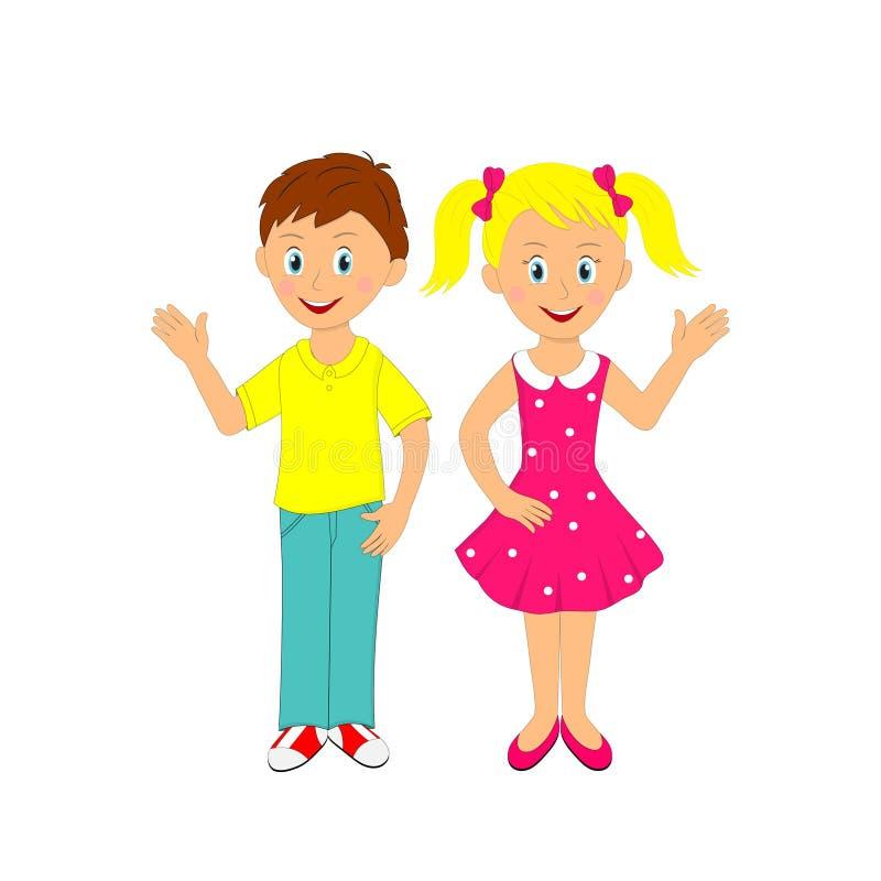 Garçon et fille ondulant leur main illustration libre de droits