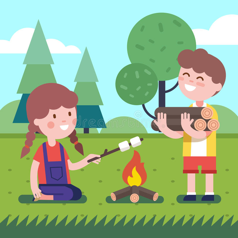 Garçon et fille près du feu illustration libre de droits