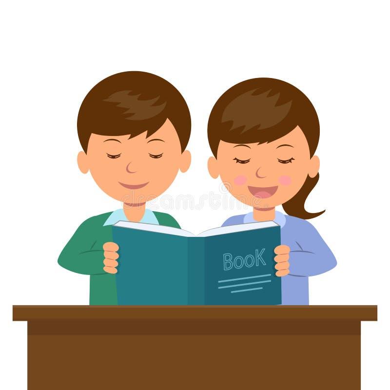 Garçon et fille s'asseyant au bureau lisant un livre illustration stock