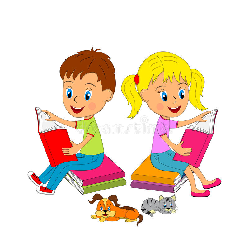 Garçon et fille s'asseyant sur le livre et la lecture illustration libre de droits