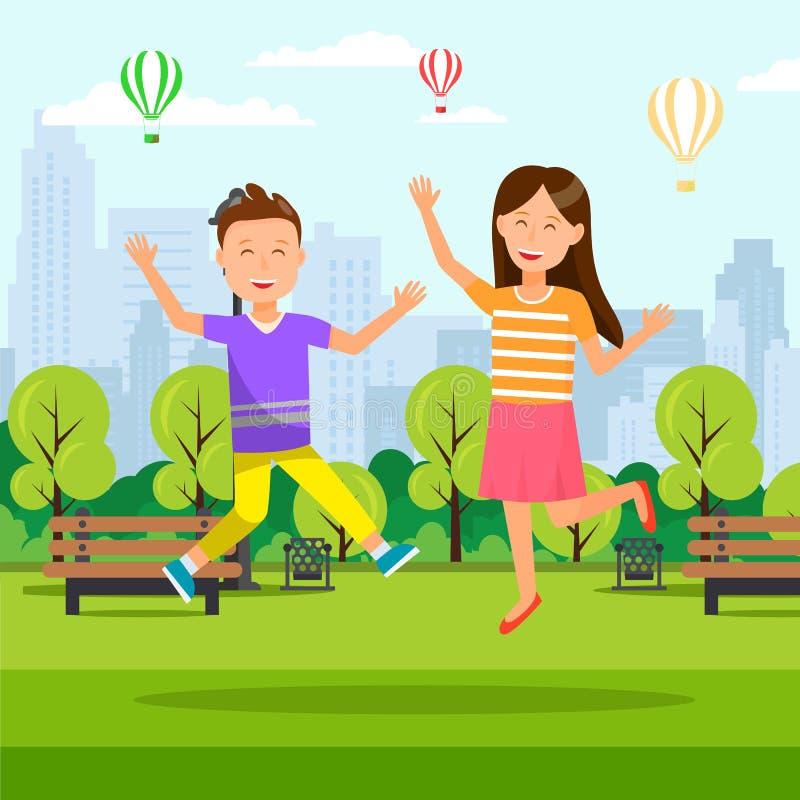 Garçon et fille sautant avec des mains au parc de ville illustration stock