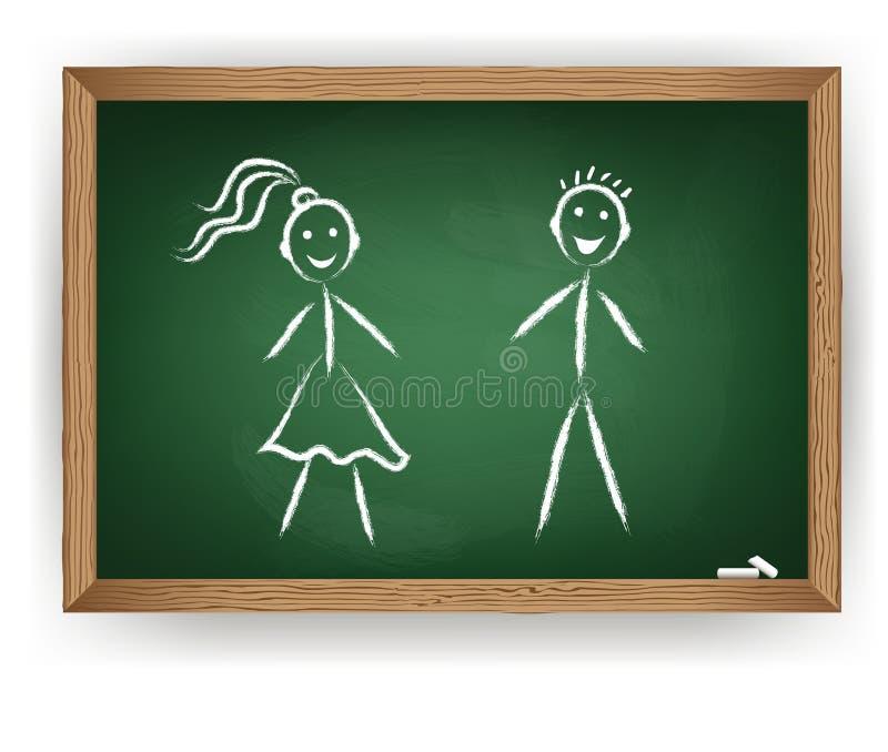 Garçon et fille sur le tableau illustration de vecteur