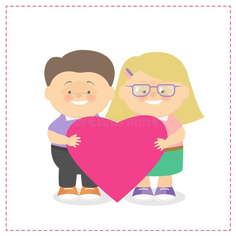 Garçon et fille tenant un holdin de Caucasien d'enfants de coeur ensemble illustration stock