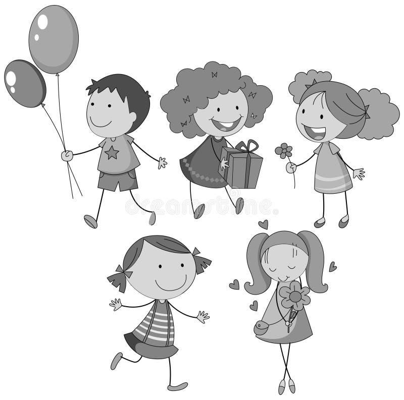 Garçon et filles avec les visages heureux illustration stock