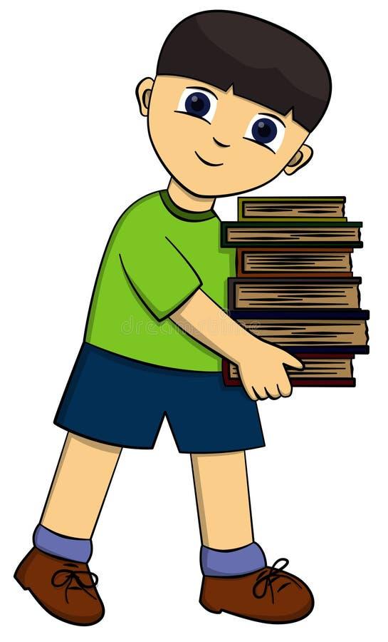 Garçon et livres illustration libre de droits
