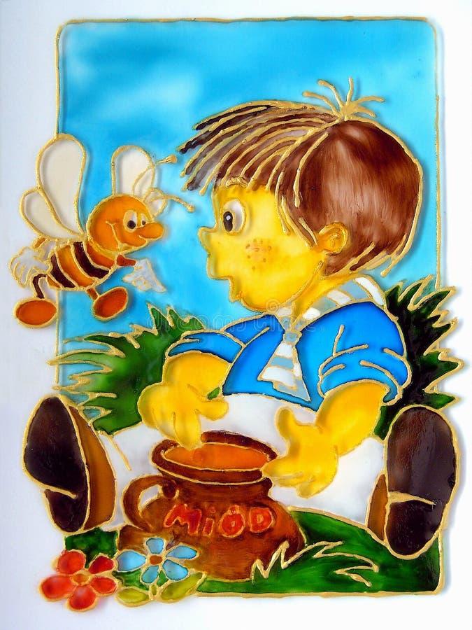 Garçon et miel illustration libre de droits