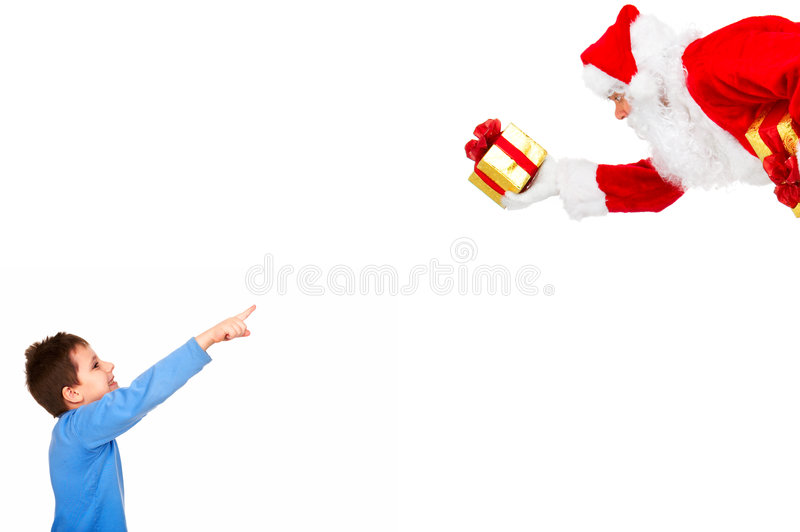 Garçon et Noël Santa photographie stock