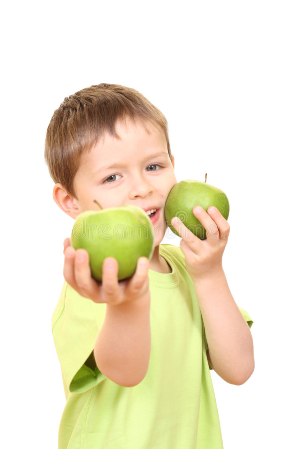 Garçon et pommes images stock
