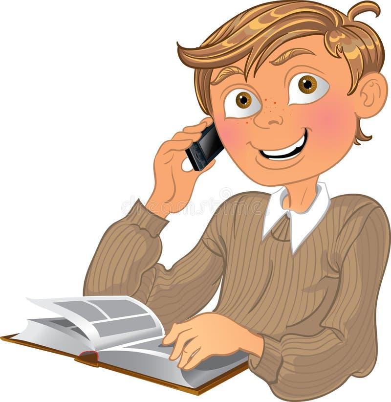 Garçon et téléphone et livre blonds illustration stock