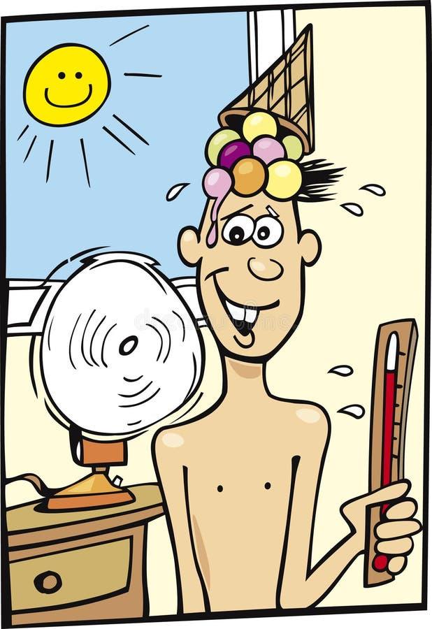 Garçon et temps chaud illustration de vecteur
