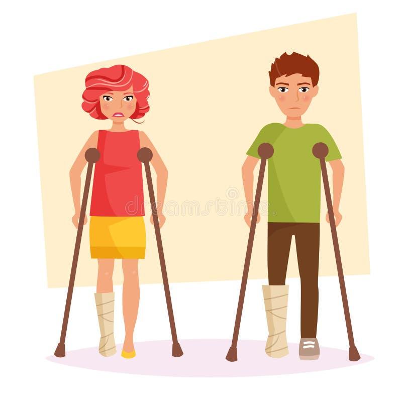 Garçon et une fille avec jambes cassées illustration de vecteur