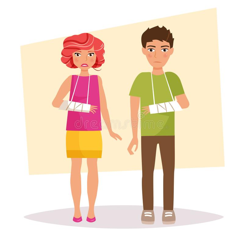 Garçon et une fille avec un bras cassé illustration libre de droits