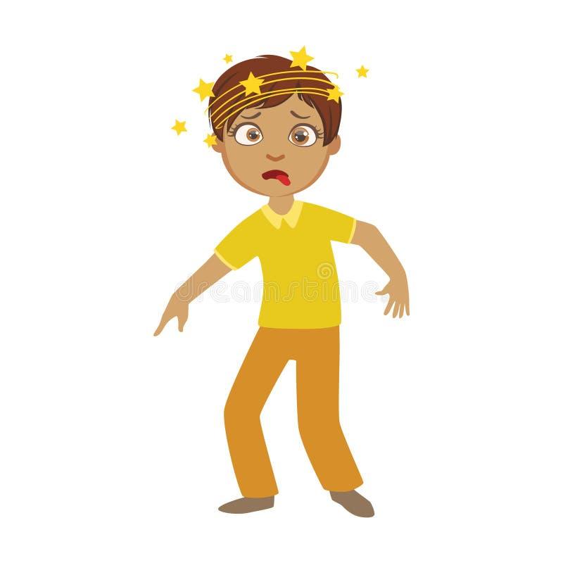 Garçon et vertiges, enfant malade se sentant souffrant en raison de la maladie, partie d'enfants et séries de problèmes de santé  illustration libre de droits