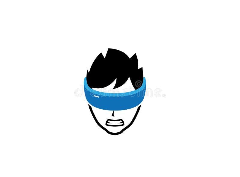 Garçon fâché avec des yeux couverts dans le logo de ruban bleu illustration de vecteur