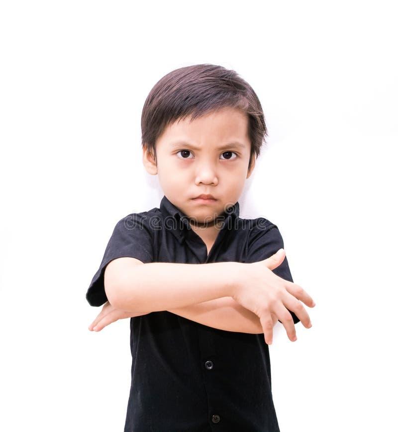 Garçon fâché d'enfant de l'Asie photos libres de droits