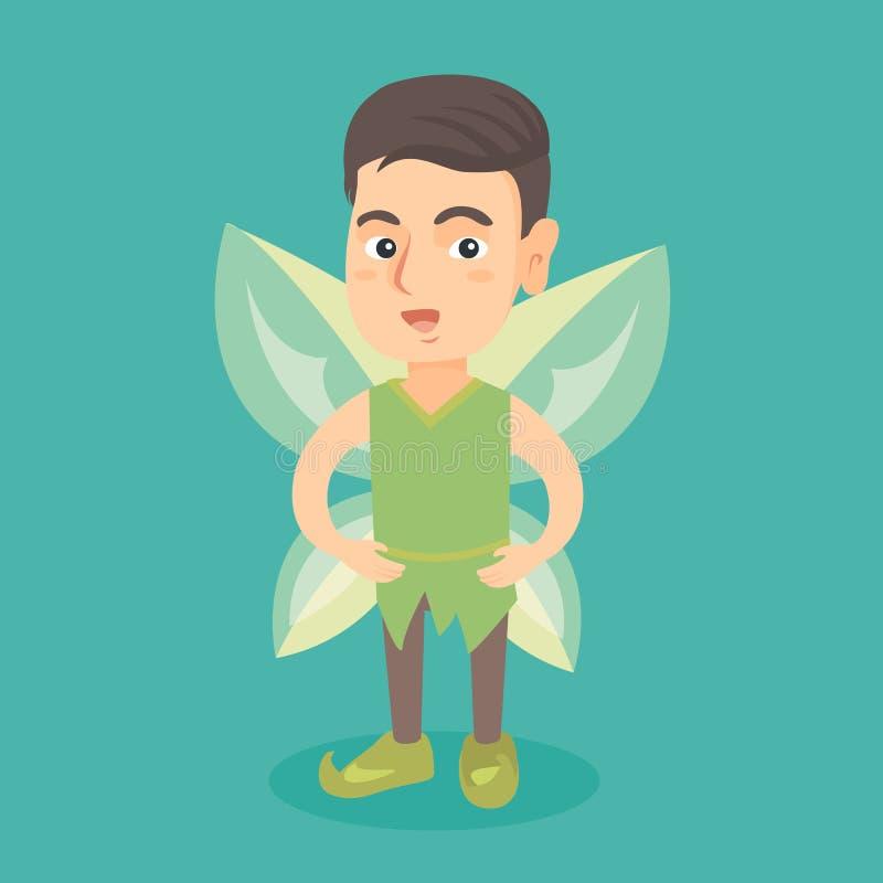 Garçon féerique caucasien avec les ailes vertes de papillon illustration libre de droits