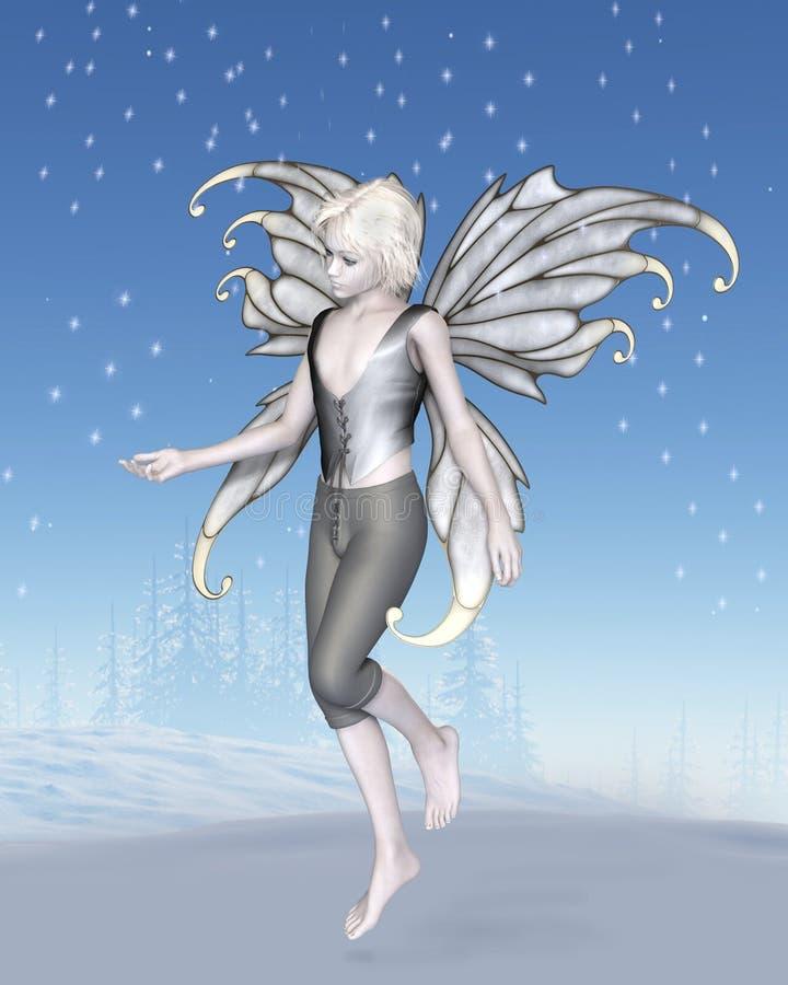 Garçon féerique d'hiver avec les flocons de neige de scintillement illustration stock