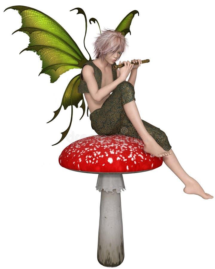 Garçon féerique de cannelure s'asseyant sur un champignon illustration de vecteur