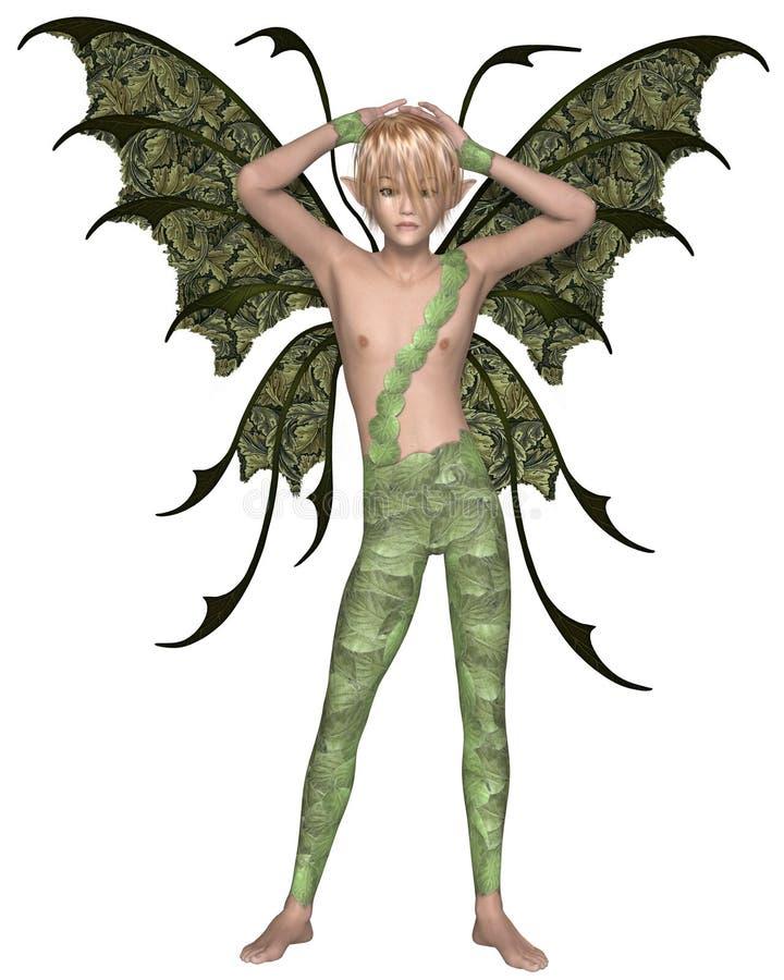 Garçon féerique en vert, bras augmentés illustration libre de droits