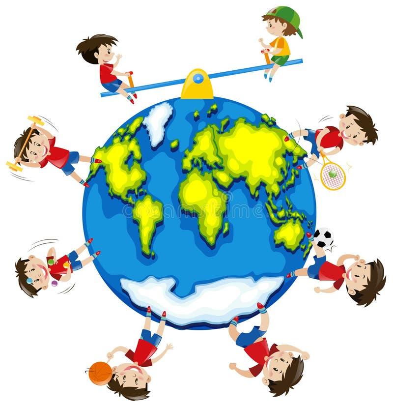 Garçon faisant différentes activités autour du monde illustration libre de droits