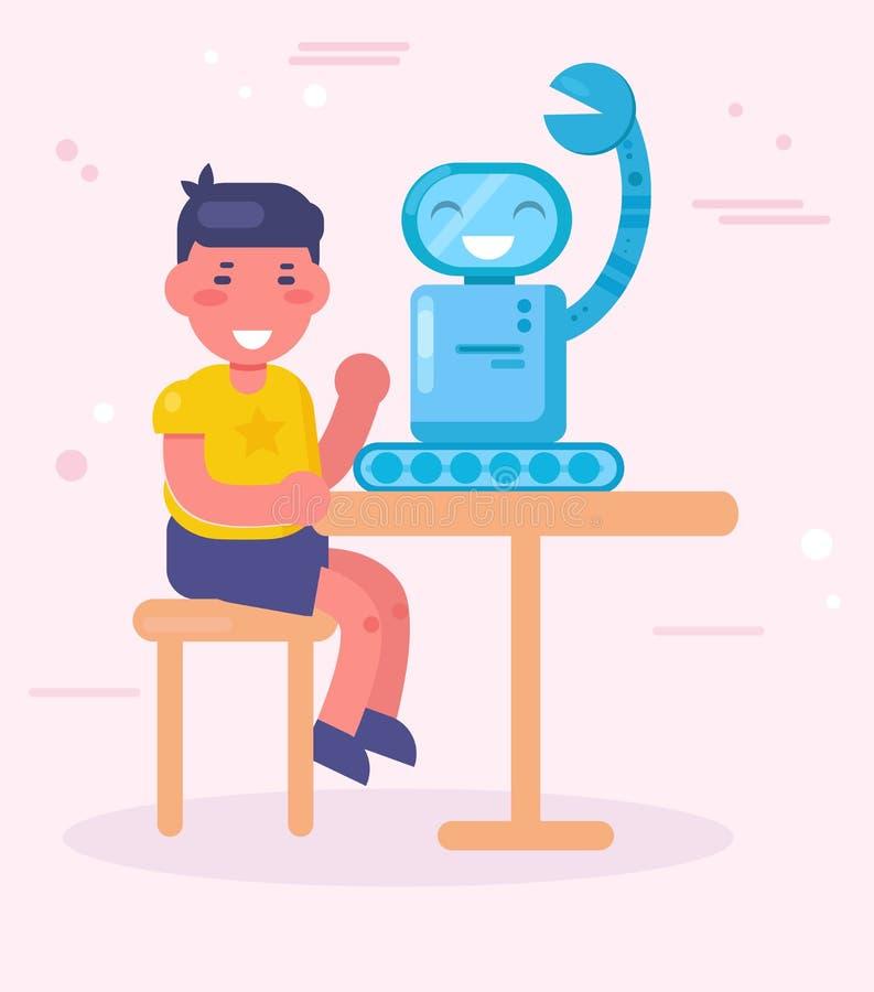 Garçon faisant le vecteur de robot cartoon Art d'isolement illustration stock